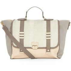 Stone and Pink Colour Block Winged Satchel