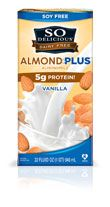 So Delicious Almond Milk--PLUS Gluten-free, soy-free, non-GMO, 5 times the protein, less sugar, less sodium, less calories than the other almond milks.  I have always hated the taste of almond milk but this stuff is great!!