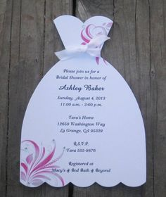 Wedding Dress Bridal Shower Invitations with Swirls Set of 10
