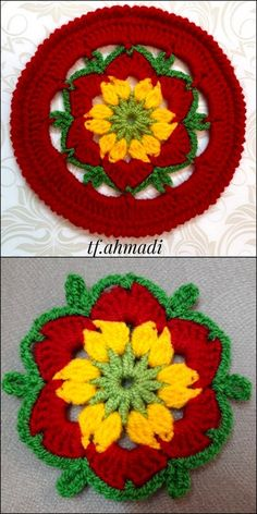 Cute & Beautiful Crochet Design Patterns and Ideas - Diy Crafty Crochet Flower Squares, Crochet Butterfly Pattern, Flower Pattern Design, Crochet Flower Tutorial, Design Patterns, Crochet Flowers, Crochet Potholders, Crochet Buttons, Crochet Bebe