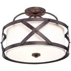 """Alder 16"""" Wide Bronze Ceiling Light"""