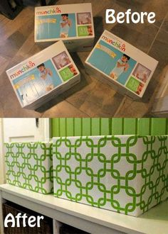DIY storage bins from diaper boxes! Use inexpensive fabric to transform cheap or free boxes into storage bins for toys, books, and crafts! Perfect for nurseries, playrooms, and kids spaces to stay organized!