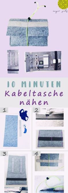 Einfache Kabeltasche nähen in 10 Minuten – Anleitung in 4 Schritten. Die schnel… Sew simple cable bag in 10 minutes – instructions in 4 steps. The quickly sewn cable bag is simple, quickly sewn and very practical. Sewing Patterns Free, Free Sewing, Sewing Tutorials, Knitting Patterns, Sewing Projects, Upcycled Crafts, Diy And Crafts, Crafts For Kids, Chan Luu