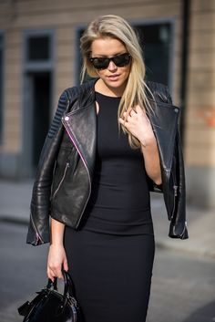 black leather jacket dress, bag. Street fall autumn women fashion outfit clothing style apparel @roressclothes closet ideas