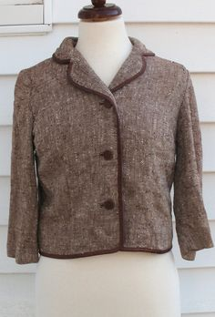 Vintage 1950s Tweed Cropped Jacket XS S Light Office by Flashbax, $40.00