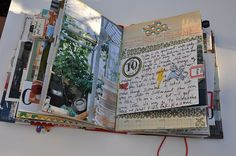 """art journal >> many pages of a travel art journal with altered book. Even a page for the """"soundtrack"""" CD. Fun ideas!"""