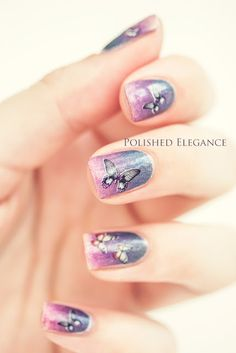 pretty butterfly nails