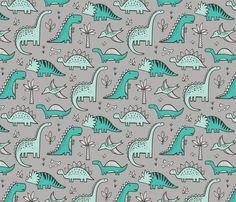 Dinosaurs on Grey fabric by caja_design on Spoonflower - custom fabric