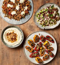 Sweet and sour farro, burnt aubergine, stuffed baby peppers and. Sweet and sour farro, burnt aubergine, stuffed baby peppers and skordalia. Yotam Ottolenghi, Ottolenghi Recipes, Meze Recipes, Vegetarian Recipes, Snack Recipes, Cooking Recipes, Healthy Recipes, Vegetarian Tapas, Crab Recipes