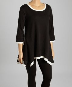 This Black & White Trim Handkerchief Tunic - Women & Plus by Come N See is perfect, $35 !!   #zulilyfinds
