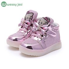 0e65b3826 Girls shoes baby Hook Loop led light shoes kids light up glowing sneakers  toddler Girls princess party school children shoes -in Sneakers from Mother  & Kids ...