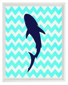 Shark Beach Nautical Sea Creature Art Print Set - Nursery Children Room Chevron Aqua Navy Blue - Wall Art Home Decor Underwater Bedroom, Shark Bedroom, Shark Nursery, Underwater Theme, Bedroom Beach, Navy Blue Wall Art, Navy Blue Walls, Stencil, Shark Silhouette