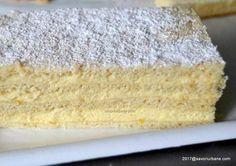 Prajitura Raffaello cu foi fragede, mascarpone si cocos | Savori Urbane Pastry And Bakery, Pastry Cake, Biscuits, Romanian Food, Food Cakes, Sweet Cakes, Vanilla Cake, Coco, Cake Recipes