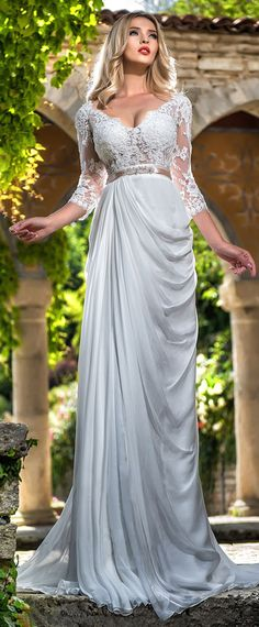 Graceful Tulle & Silk-like Chiffon V-neck Neckline A-line Wedding Dress With Beaded Lace Appliques & Belt