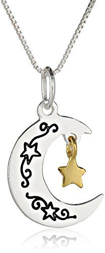 """Two-Tone """"I Love You To The Moon and Back"""" Moon and Star Pendant Necklace, 18"""" Amazon Curated Collection http://www.amazon.com/dp/B00EPBAJBK/ref=cm_sw_r_pi_dp_mLdKub0H2ARXP"""