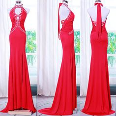 Designer Red Halter Formal Evening Gowns Special Occasion Dresses Women SKU-122599