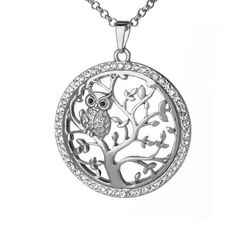 Online Shop Small Owl Pendant Necklace Tree Of Life Women Rose Gold Silver Color Chain Crystal Long Necklaces & Pendants Jewelry XL07298 | Aliexpress Mobile