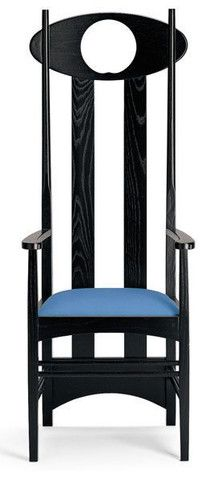 Charles Rennie Mackintosh's Argyle Carver Armchair was first seen in 1899, and originally included a pewter inset designed by Margaret, his wife.
