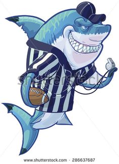 #Vector #cartoon #clip #art #illustration of a #tough #mean #smiling #shark #mascot wearing a #referee #shirt and #hat while holding a #football and #whistle. #Custom #Accessories are on a separate #layer in the vector file.