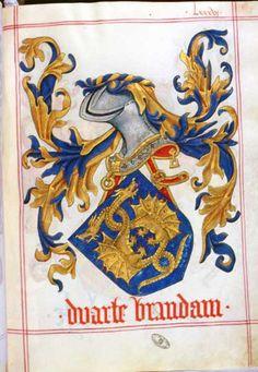 """Duarte Brandam"", Armeiro-Mor, 1509 (ESP) (= Livro do Armeiro-Mor, peint par Jean du Cros) (©Arquivo Nacional Torre do Tombo, Lisbonne) -- Edition en 1956 par A. M. de Faria (réédité en 2000) -- See more at: «Les armoriaux anciens»"