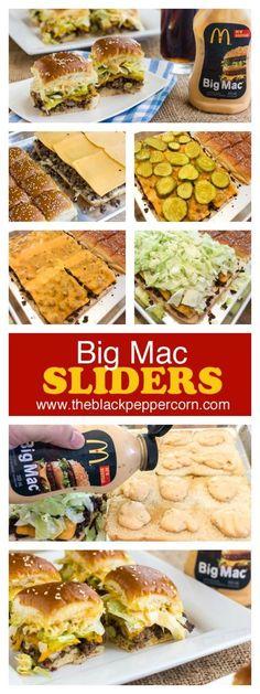 molho big mac Make mini Big Mac sliders at home with 12 dinner rolls (ex: Kings Hawaiian) and using Big Mac Sauce or Thousand Island dressing. Tastes just like McDonalds! Molho Big Mac, Quesadillas, Slider Sandwiches, Mini Sliders, Steak Sandwiches, Mini Hamburger Sliders, Beef Sliders, Beef Recipes, Cooking Recipes