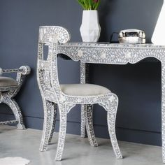 Mother of Pearl Regency Chair and Desk