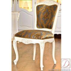 Stuhl WIEN weiß H95cm Ahorn Massivholz - Kunstvoll und bequem  vereint dieser Stuhl Gemütlichkeit mit landhäuslichem Stil. Dieser Stuhl garantiert angenehmes Sitzen an Ess- oder Schreibtischen. Das massive Ahorn-Holz macht den Stuhl zu einem langlebigen Möbelstück.