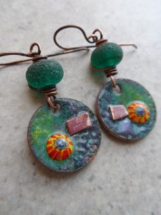 Cosmos ... Copper Enameled Charms Rustic Gem by juliethelen