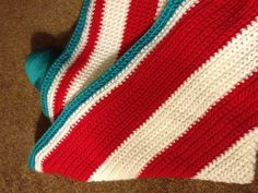 Dr Seuss themed crochet blanket. Single crochet then half double crochet for the border.