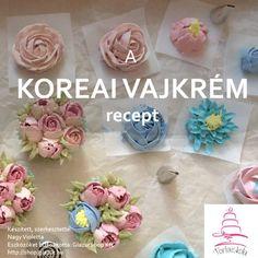 koreai-vajkrem-vajkrem-viragokhoz Toffee, Fondant, Nom Nom, Icing, Place Cards, Projects To Try, Place Card Holders, Floral, Food