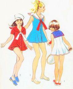 1970s Simplicity 5599 Vintage Sewing Pattern Girls Sailor Dress and Bikini Panties Princess Seam Dress Cute Kawaii Styles Size 7 B 26 FACTORY FOLDED UNCUT