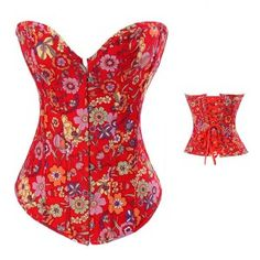 4aeb54c27b8 Plus Size Women Sexy Waist Trainer Corset Overbust Colorful Flower Corset  And Bustier Outwear Corset Top