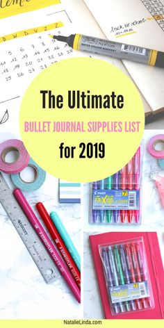 Check out this ultimate list of bullet journal supplies! These supplies will help you stay even more organized and productive in They'll also help you create beautiful spreads, trackers, and layouts! Bullet Journal September, Bullet Journal Wishlist, Bullet Journal Doodles, Bullet Journal Weekly Spread, Bullet Journal Essentials, Bullet Journal Travel, Bullet Journal 2019, Bullet Journal Hacks, Bullet Journal Printables