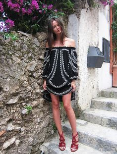 Black and White Dress with Red Shoes.  Dress: Poupette St Barth, shoes: Alaïa [source: columbine]