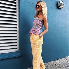 The Cecilie Copenhagen 'Ella' Top is now available at Bernard Boutique. Cecilie Copenhagen, Deep Blue, Fashion Online, Ootd, Boutique, Trousers, Fashion Design, Shopping, Clothes