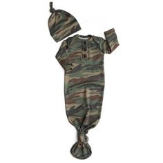 Brushed Camo Knotted Button Gown - - Gigi and Max Baby Next, First Baby, Toddler Outfits, Baby Boy Outfits, Gigi And Max, Camo Shirts, Camo Baby Stuff, Baby Gown, Camo Print