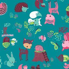 Heather Rosas - Fairyville, Woodland Animals - Blue| Lola Pink Fabrics