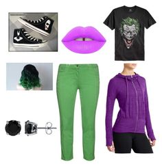 """joker"" by lazacorn ❤ liked on Polyvore featuring Converse, aprico, Bioworld, Athleta, Lime Crime and BERRICLE"