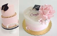 graduation cakes by Sweet and Saucy left and by Jenna Rae Cakes right