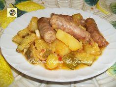 Stufato di salsiccia e patate con porri e zucchine
