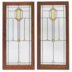 """Prairie School Pair of Leaded Glass Light Screen Windows. Clear & Coloured Glass with Lead Came and Oak Frames. America. Circa 1900. Each Panel: 37-1/2"""" x 15-1/2"""" & Framed: 43"""" x 20""""."""