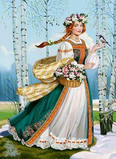 Russian pagan Godess of spring. Russian Folk Art, Ukrainian Art, Russian Beauty, Russian Fashion, Sewing Art, Traditional Art, Art Pictures, Pagan, Photo Art
