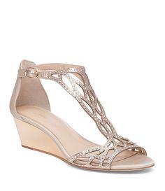 9b91296653 Shop for Imagine Vince Camuto Jalen Satin T-Strap Beaded Detail Wedge  Sandals at Dillards