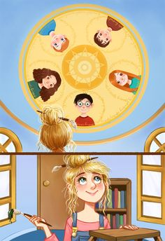 """: """"Luna had decorated her bedroom ceiling with five beautifully painted faces: Harry, Ron, Hermione, Ginny, and Neville. They were not moving ..."""