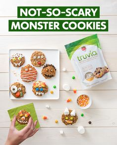 Sweetness that's not-so-scary! Here's a reduced-sugar monster cookie recipe to eat for Halloween. Decorate on your own or with the kids.