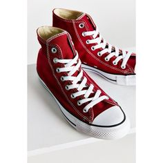 Converse Chuck Taylor All Star Seasonal High Top Sneaker ($60) ❤ liked on Polyvore featuring shoes, sneakers, berry, converse sneakers, converse footwear, star shoes, polish shoes and high top shoes