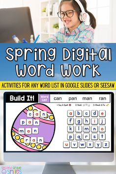 Easter fun made digital! This digital word work center set includes spring-themed interactive word work activities for any word list with moveable letter tiles. Use them again and again with any set of spelling words or high-frequency words. Just click to type in your own list! These fun activities are Seesaw and Google Classroom compatible. Ideal for both distance learning and everyday classroom use in first grade, second grade, third grade, or kindergarten. Word Work Games, Word Work Centers, Word Work Activities, Teaching Phonics, Teaching Kindergarten, Teaching Second Grade, Third Grade, Creative Teaching, Teaching Ideas