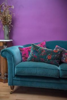 Bayberry Green Floral Cotton Velvet Cushion Cover – Ian Snow Ltd Living Room Cushions, Living Room Decor, Bedroom Decor, Plum Living Rooms, Floral Cushions, Velvet Cushions, Cushions On Sofa, Teal Sofa, Indian Home Decor