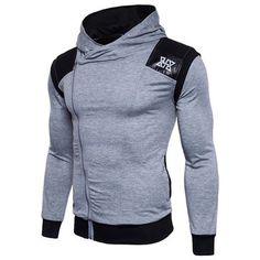 Mens Stylish Zipper Design Casual Hoodies Patchwork Slim Fit Sport Hooded Tops is Cool-NewChic Mobile.