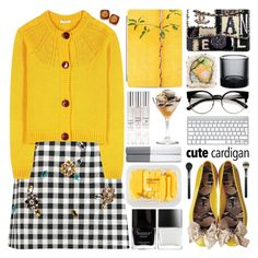 A fashion look from September 2016 featuring Miu Miu cardigans, Dolce&Gabbana mini skirts and Furla flats. Browse and shop related looks. Cute Cardigan Outfits, Cute Cardigans, Cardigans For Women, Cute Outfits, Animal Print Cardigans, Polo Outfit, Chanel Outfit, Modern Outfits, Polyvore Fashion